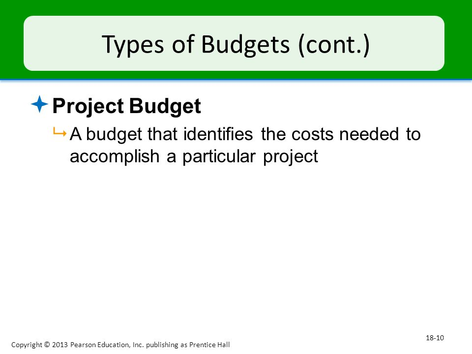 Types of Budgets (cont.)  Project Budget  A budget that identifies the costs needed to accomplish a particular project Copyright © 2013 Pearson Education, Inc.