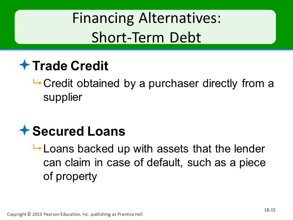 Financing Alternatives: Short-Term Debt  Trade Credit  Credit obtained by a purchaser directly from a supplier  Secured Loans  Loans backed up with assets that the lender can claim in case of default, such as a piece of property Copyright © 2013 Pearson Education, Inc.