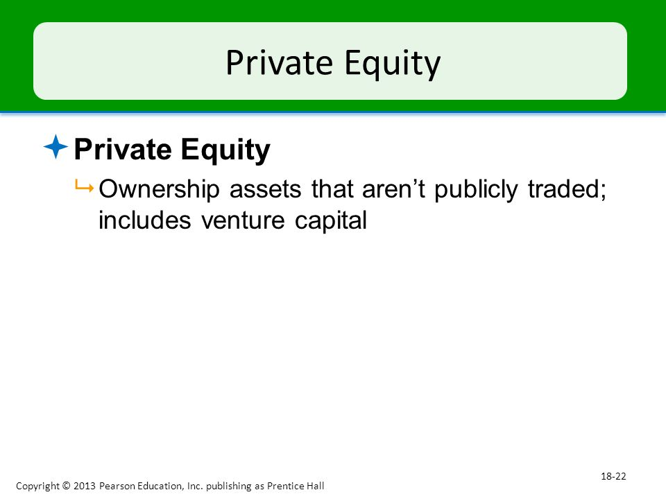 Private Equity  Private Equity  Ownership assets that aren't publicly traded; includes venture capital Copyright © 2013 Pearson Education, Inc.