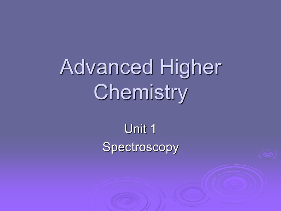 Advanced Higher Chemistry Unit 1 Spectroscopy