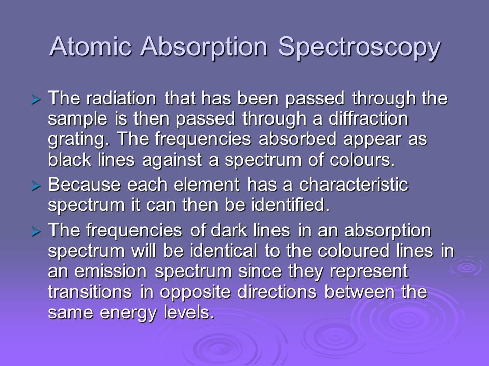Atomic Absorption Spectroscopy  The radiation that has been passed through the sample is then passed through a diffraction grating.