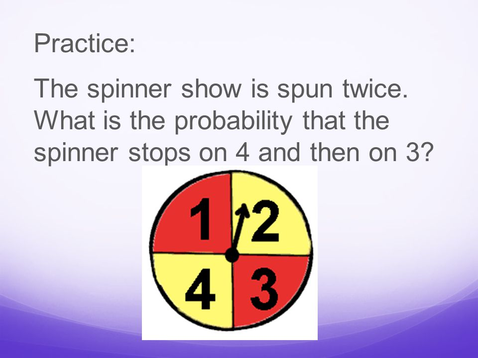 Practice: The spinner show is spun twice.