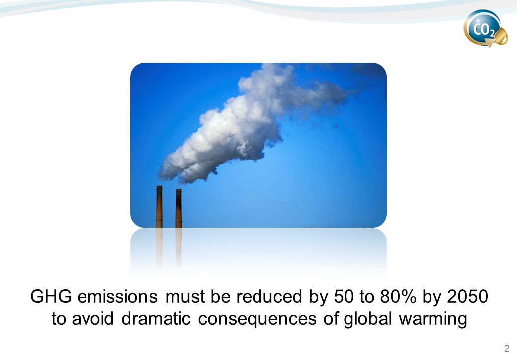 2 GHG emissions must be reduced by 50 to 80% by 2050 to avoid dramatic consequences of global warming
