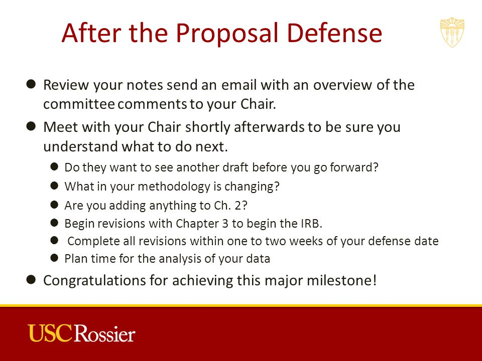 After the Proposal Defense Review your notes send an  with an overview of the committee comments to your Chair.