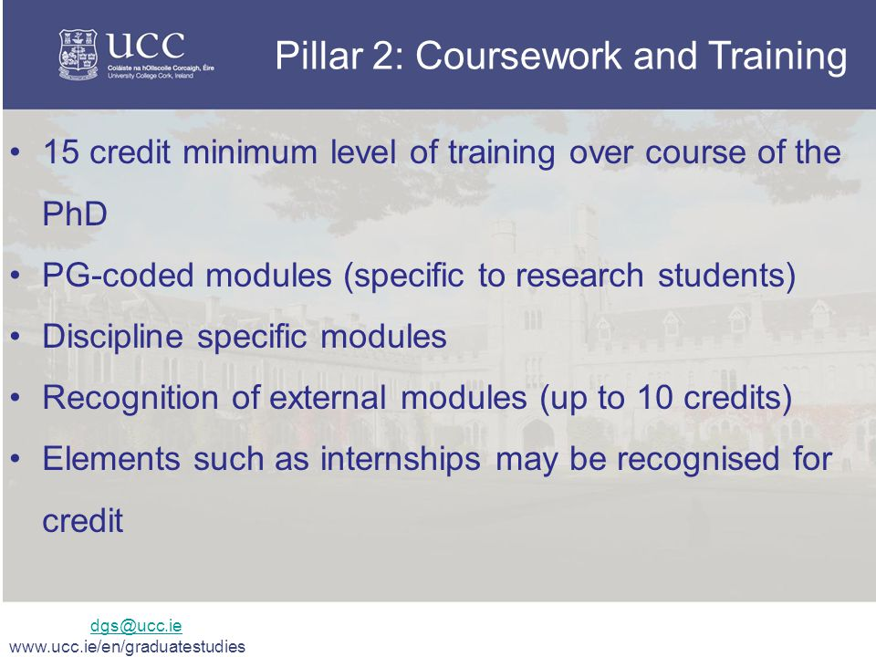 Pillar 2: Coursework and Training 15 credit minimum level of training over course of the PhD PG-coded modules (specific to research students) Discipline specific modules Recognition of external modules (up to 10 credits) Elements such as internships may be recognised for credit