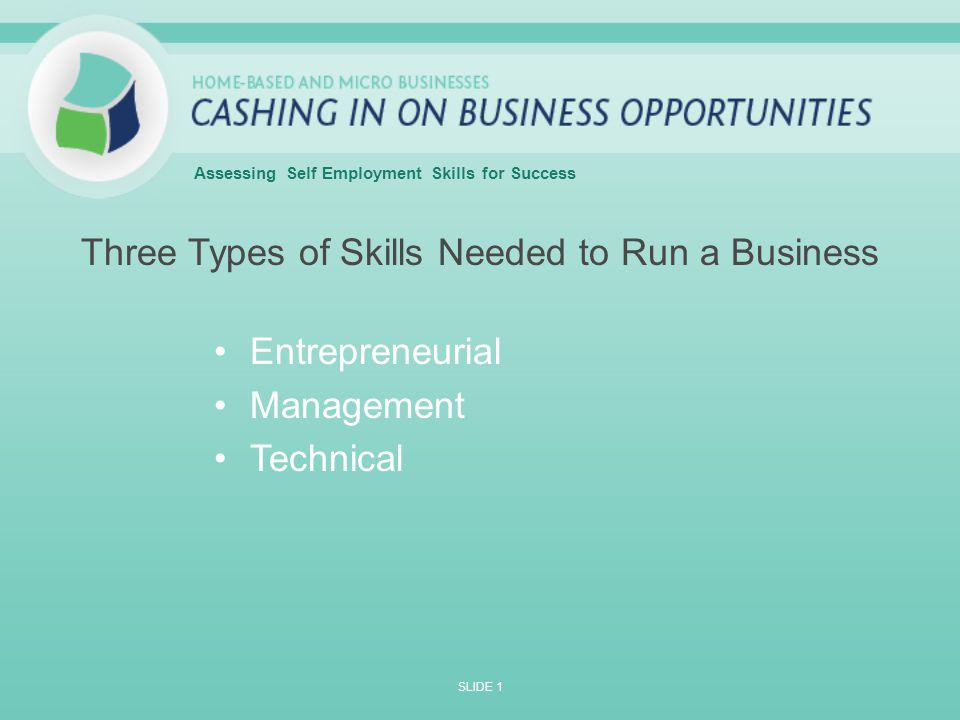 Essing Self Employment Skills For Success 2 Three Types Of Needed To Run A Business Entrepreneurial Management Technical Slide 1