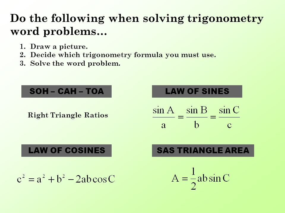 Problem Solving With Trigonometry Do The Following When. Do The Following When Solving Trigonometry Word Problems 1draw A. Worksheet. Law Of Sines Story Problems Worksheet At Clickcart.co