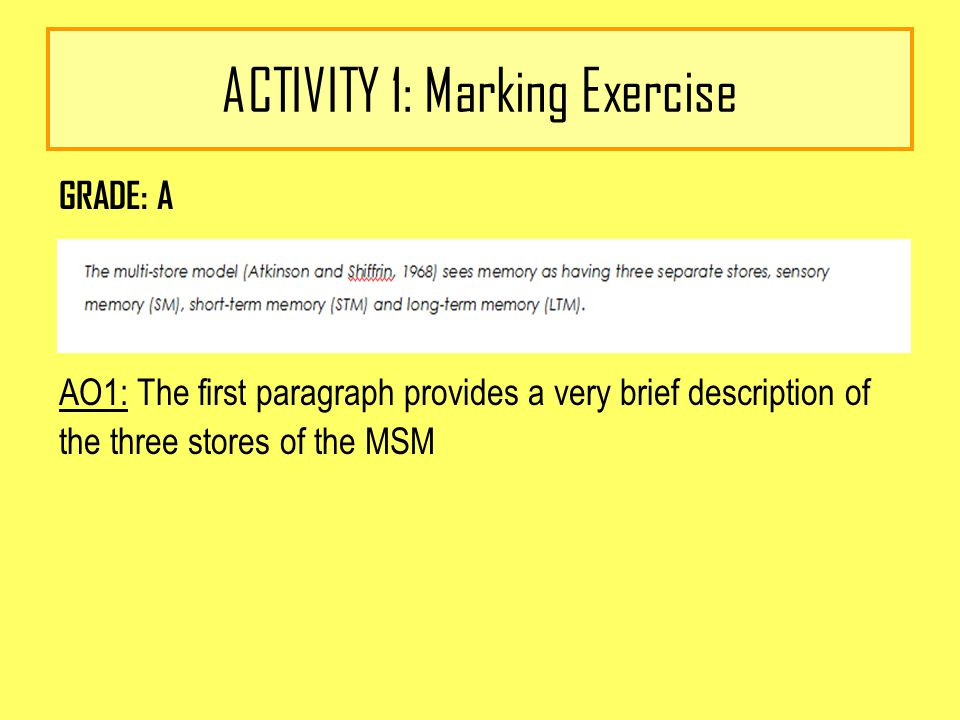 ACTIVITY 1: Marking Exercise GRADE: A AO1: The first paragraph provides a very brief description of the three stores of the MSM