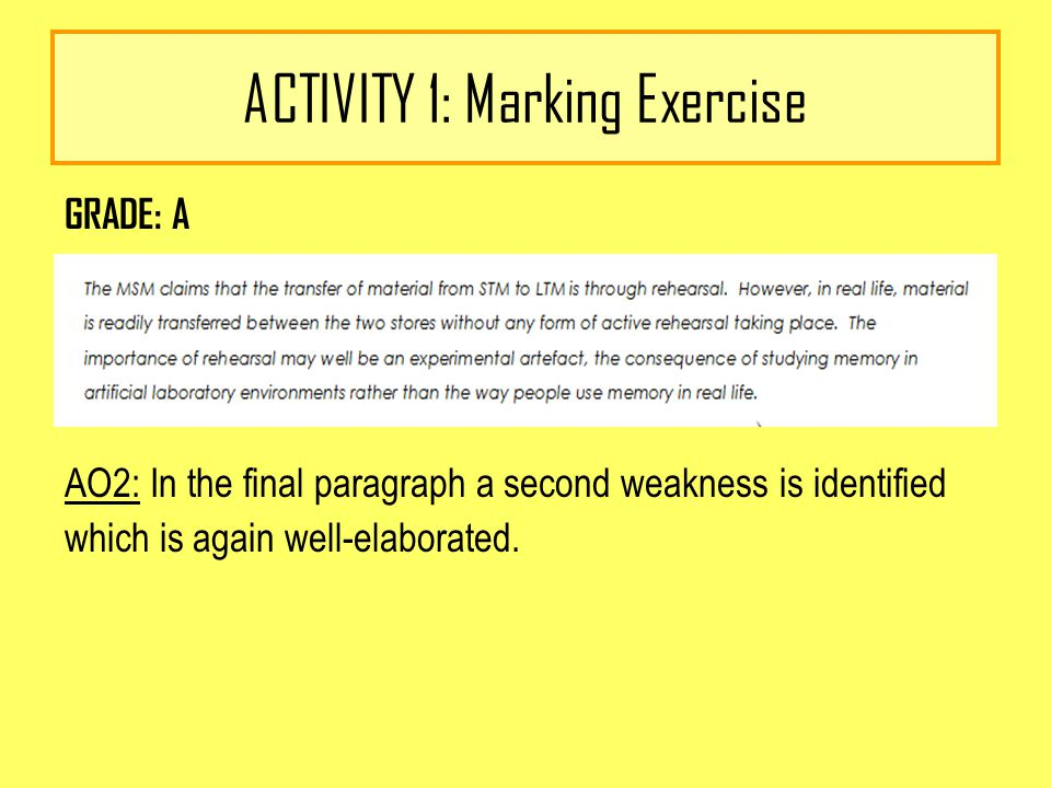 ACTIVITY 1: Marking Exercise GRADE: A AO2: In the final paragraph a second weakness is identified which is again well-elaborated.