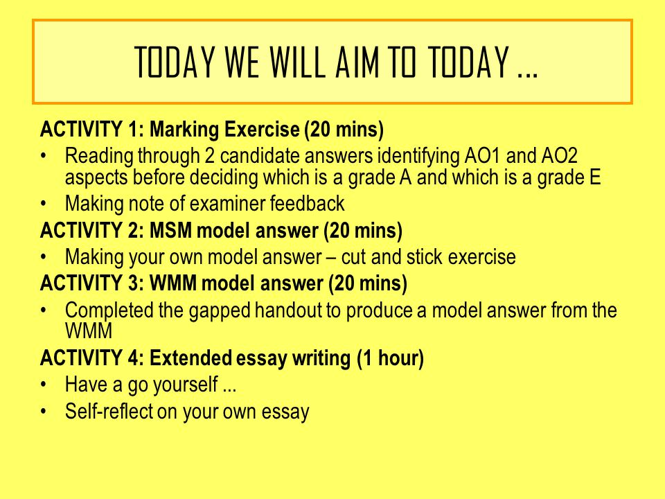 TODAY WE WILL AIM TO TODAY...