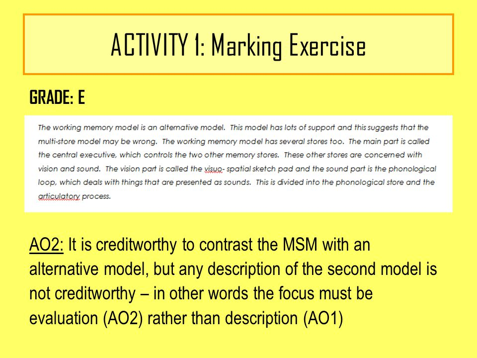 ACTIVITY 1: Marking Exercise GRADE: E AO2: It is creditworthy to contrast the MSM with an alternative model, but any description of the second model is not creditworthy – in other words the focus must be evaluation (AO2) rather than description (AO1)