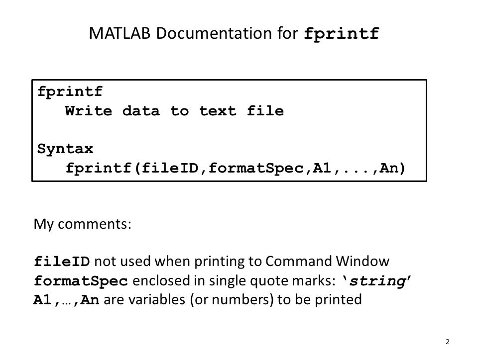 MATLAB Programming fprintf Cell arrays Structures Flow of