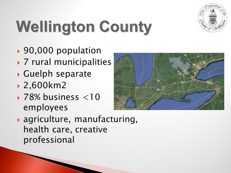  90,000 population  7 rural municipalities  Guelph separate  2,600km2  78% business <10 employees  agriculture, manufacturing, health care, creative professional