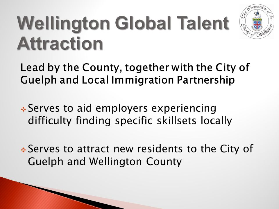 Lead by the County, together with the City of Guelph and Local Immigration Partnership  Serves to aid employers experiencing difficulty finding specific skillsets locally  Serves to attract new residents to the City of Guelph and Wellington County