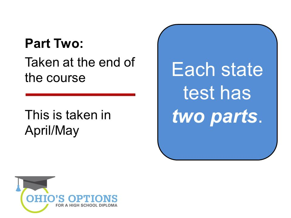 Each state test has two parts. Part Two: Taken at the end of the course This is taken in April/May