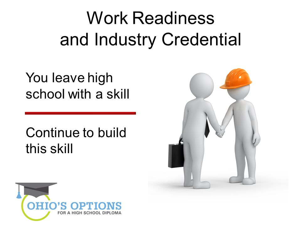 Work Readiness and Industry Credential You leave high school with a skill Continue to build this skill