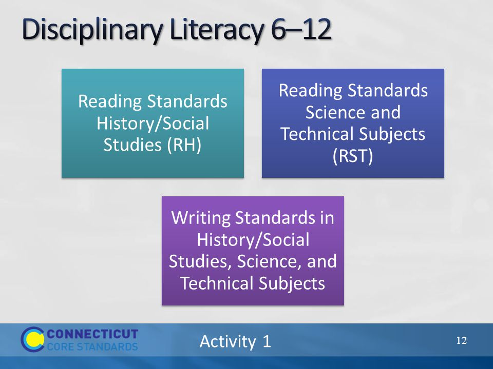 Activity 1 Reading Standards History/Social Studies (RH) Reading Standards Science and Technical Subjects (RST) Writing Standards in History/Social Studies, Science, and Technical Subjects 12