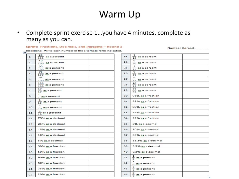 Warm Up Complete sprint exercise 1…you have 4 minutes, complete as ...