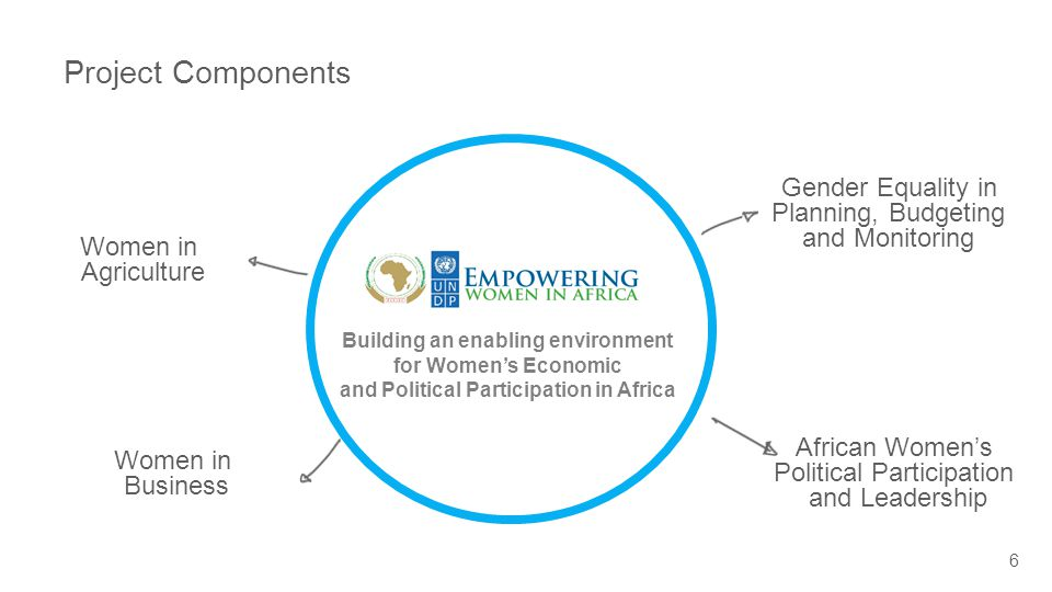 Project Components 6 Women in Business Women in Agriculture Gender Equality in Planning, Budgeting and Monitoring African Women's Political Participation and Leadership Building an enabling environment for Women's Economic and Political Participation in Africa