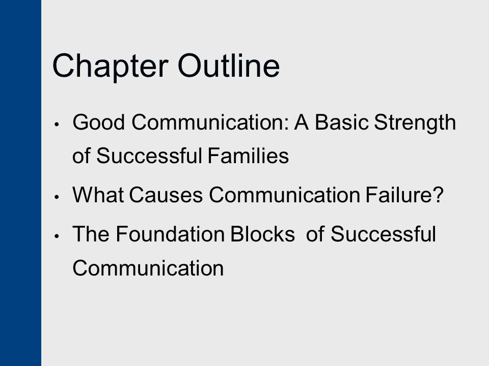 Chapter Outline Good Communication: A Basic Strength of Successful Families What Causes Communication Failure.
