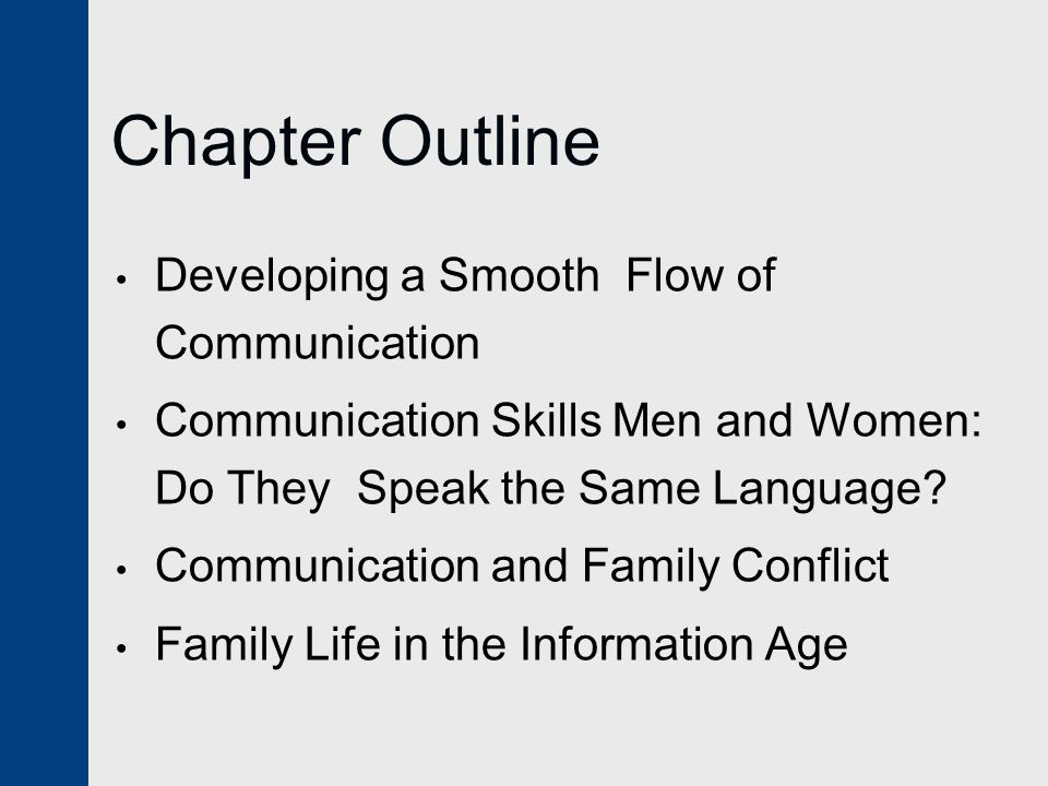 Chapter Outline Developing a Smooth Flow of Communication Communication Skills Men and Women: Do They Speak the Same Language.