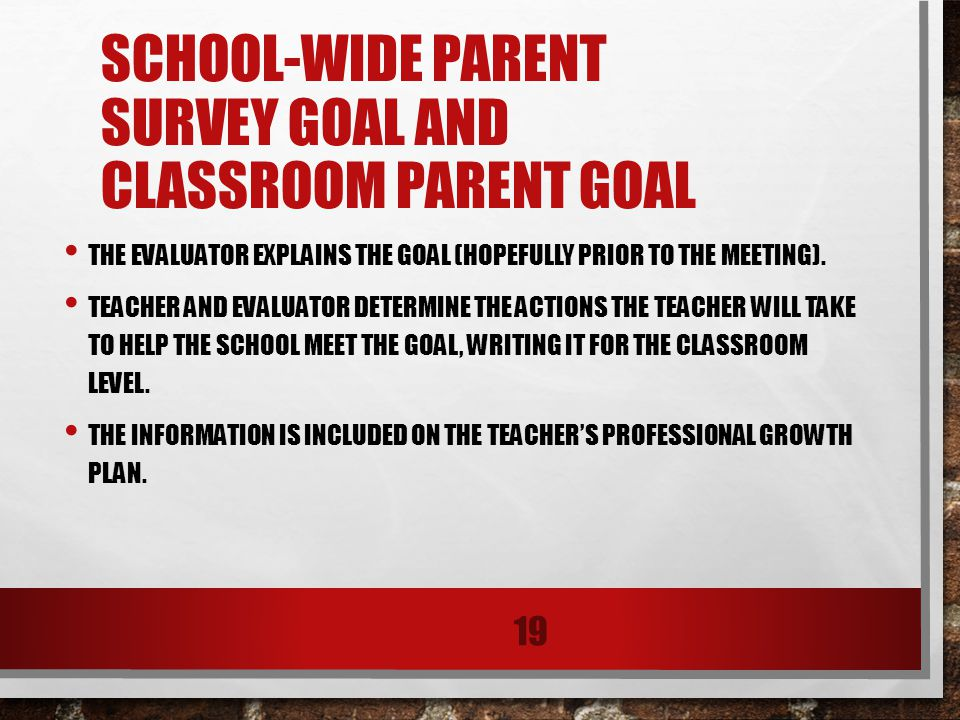 SCHOOL-WIDE PARENT SURVEY GOAL AND CLASSROOM PARENT GOAL THE EVALUATOR EXPLAINS THE GOAL (HOPEFULLY PRIOR TO THE MEETING).
