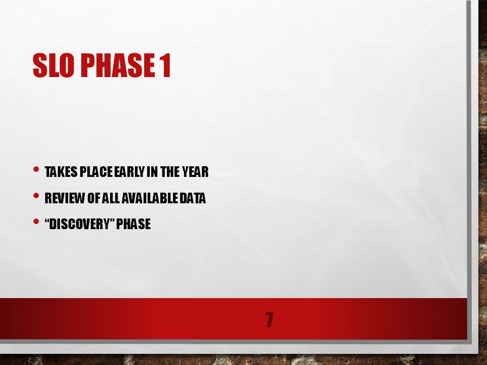 SLO PHASE 1 TAKES PLACE EARLY IN THE YEAR REVIEW OF ALL AVAILABLE DATA DISCOVERY PHASE 7