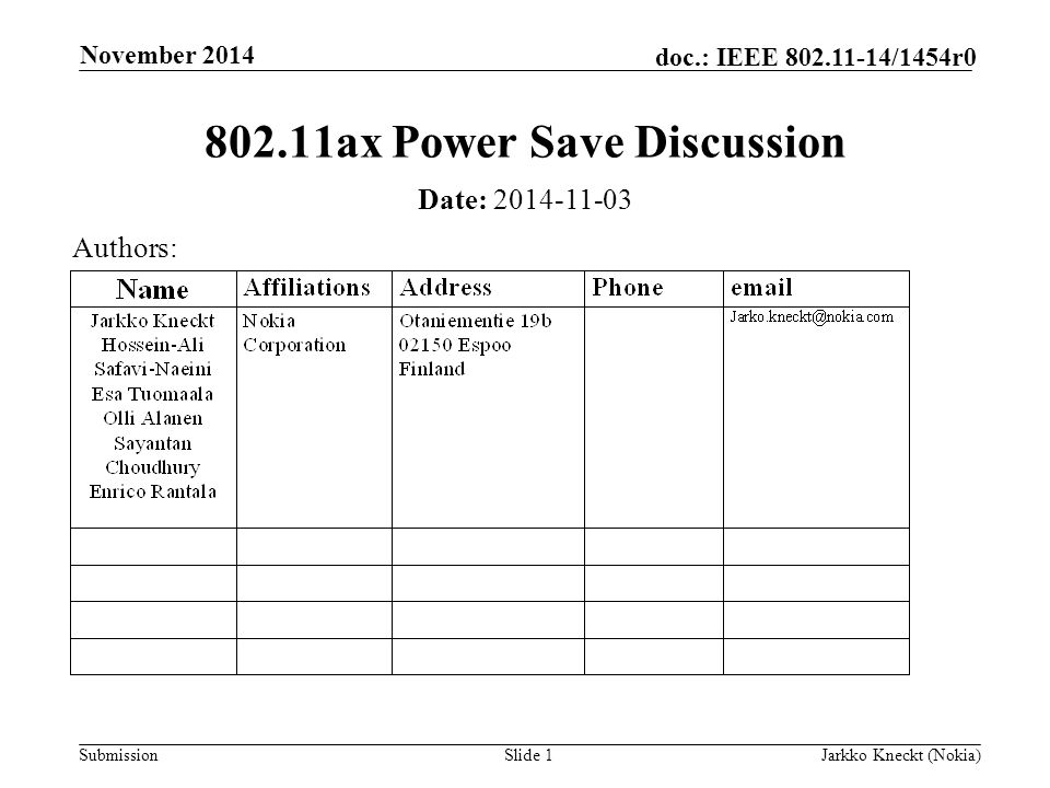 Submission doc.: IEEE /1454r0 November 2014 Jarkko Kneckt (Nokia)Slide ax Power Save Discussion Date: Authors: