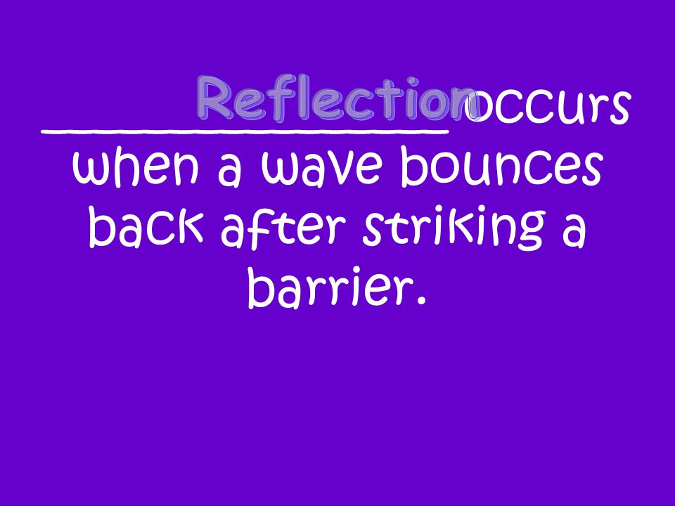 ________________ occurs when a wave bounces back after striking a barrier.