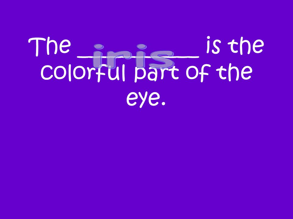 The ___________ is the colorful part of the eye.