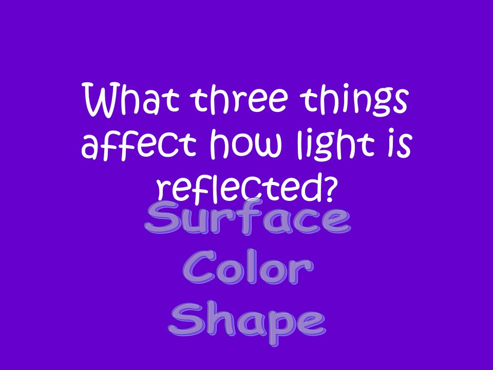 What three things affect how light is reflected