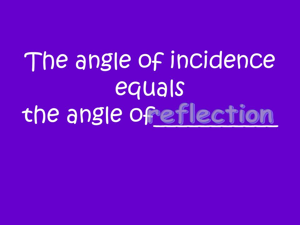 The angle of incidence equals the angle of___________