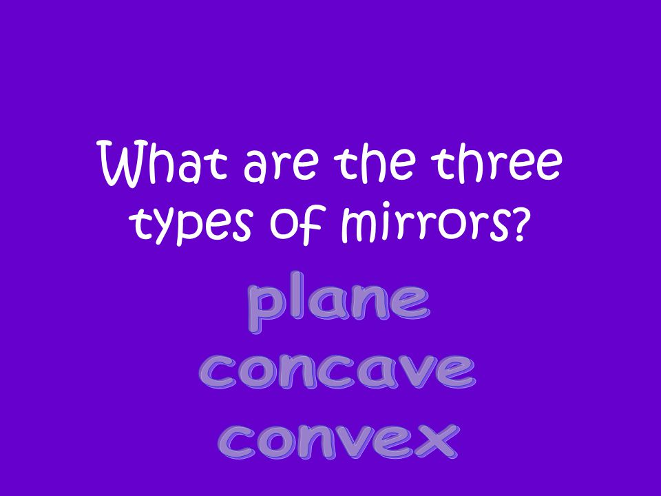 What are the three types of mirrors