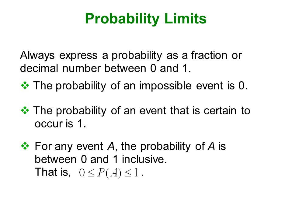 Probability Limits  The probability of an event that is certain to occur is 1.