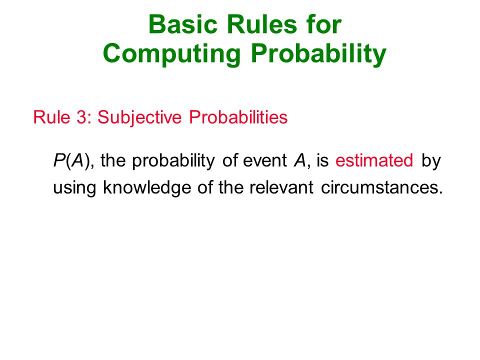 Basic Rules for Computing Probability Rule 3: Subjective Probabilities P(A), the probability of event A, is estimated by using knowledge of the relevant circumstances.