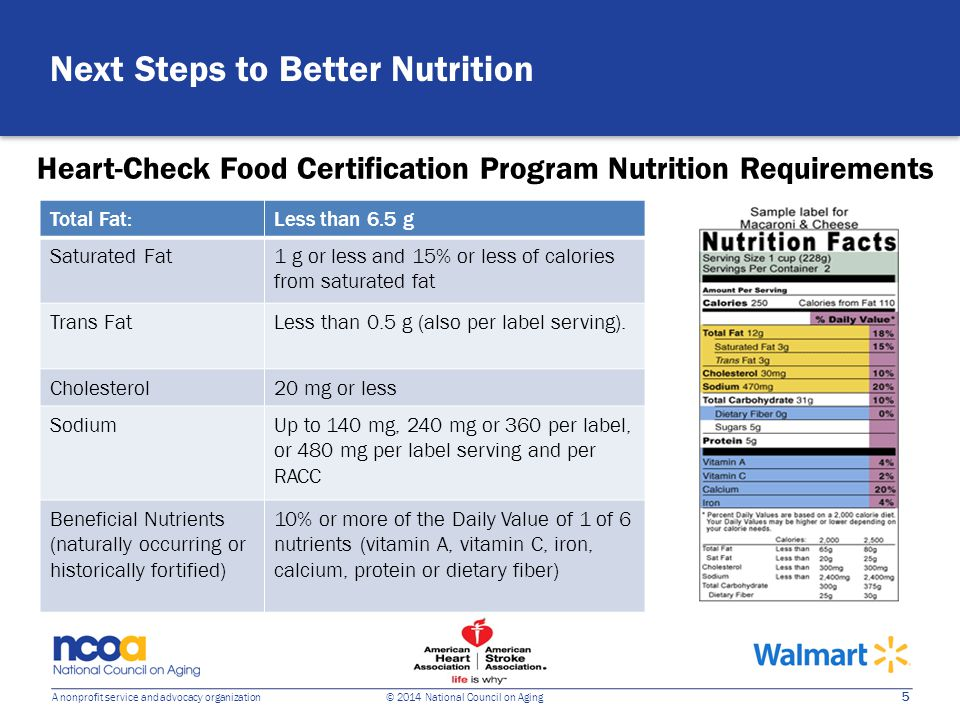 5 A nonprofit service and advocacy organization © 2014 National Council on Aging Heart-Check Food Certification Program Nutrition Requirements Next Steps to Better Nutrition Total Fat:Less than 6.5 g Saturated Fat1 g or less and 15% or less of calories from saturated fat Trans FatLess than 0.5 g (also per label serving).
