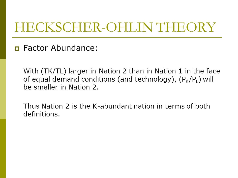 heckscher ohlin theory definition