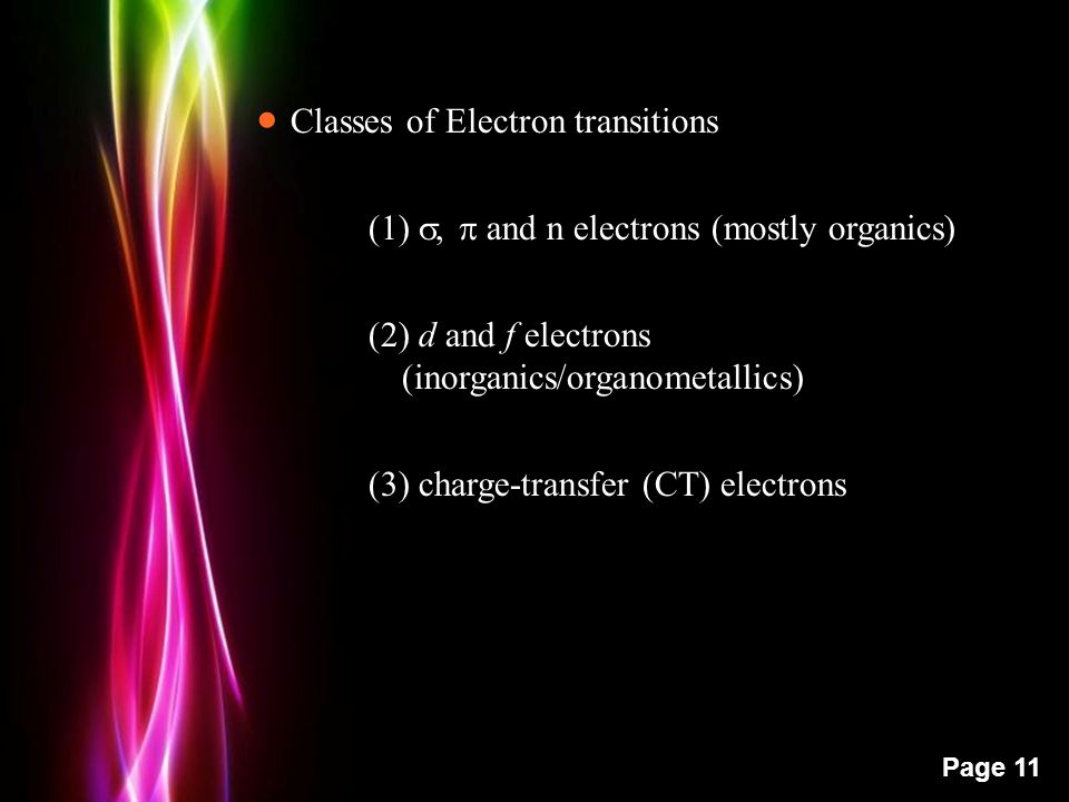 Powerpoint Templates Page 11  Classes of Electron transitions (1) ,  and n electrons (mostly organics) (2) d and f electrons (inorganics/organometallics) (3) charge-transfer (CT) electrons