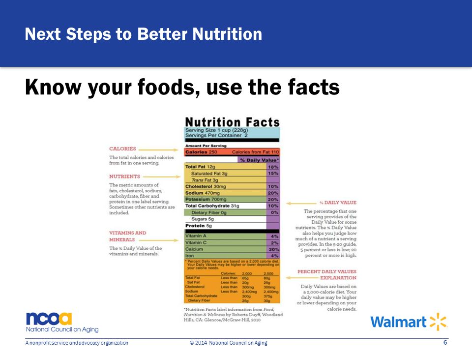 6 A nonprofit service and advocacy organization © 2014 National Council on Aging Know your foods, use the facts Next Steps to Better Nutrition