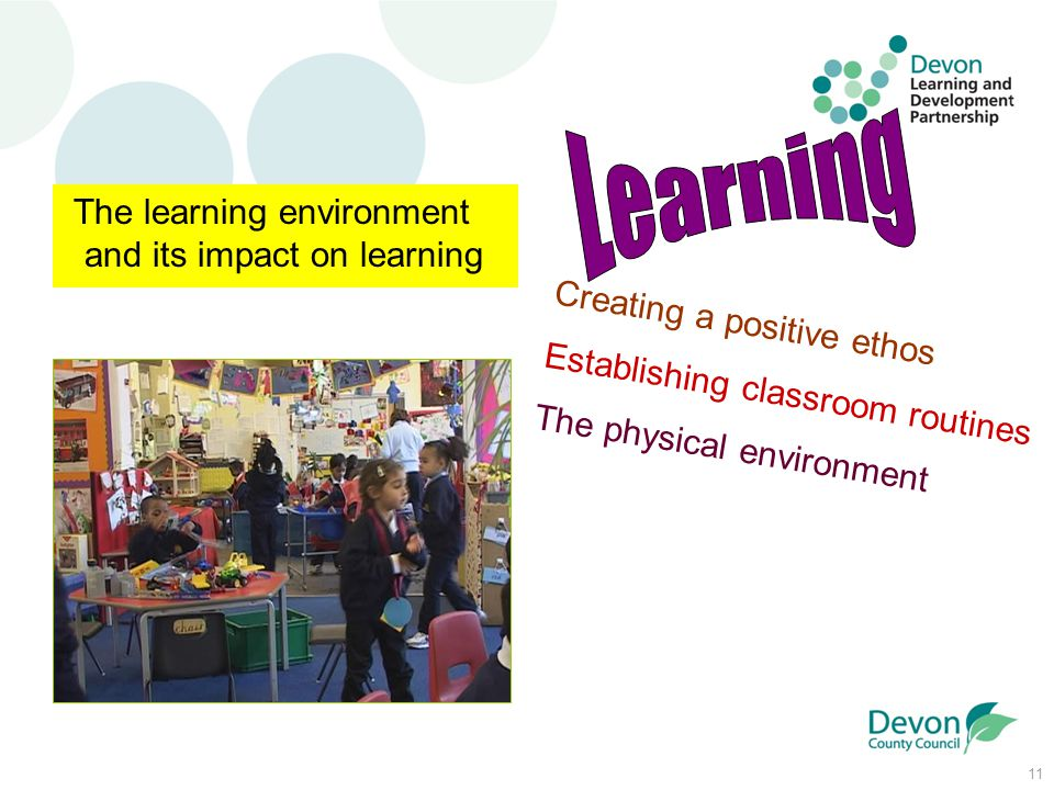 11 The learning environment and its impact on learning Creating a positive ethos Establishing classroom routines The physical environment