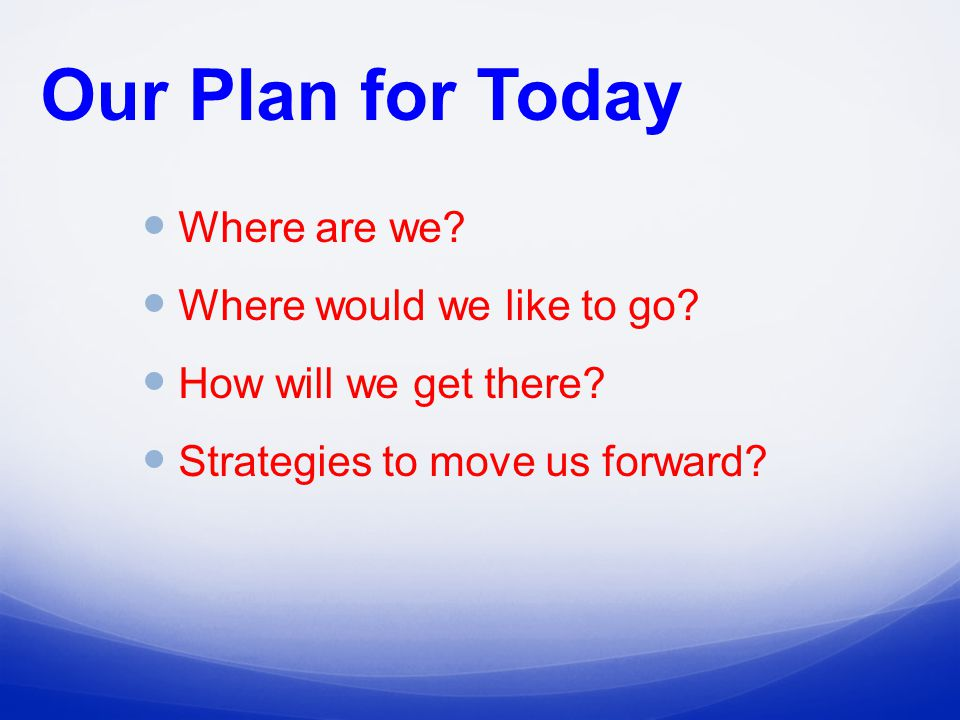 Our Plan for Today Where are we. Where would we like to go.