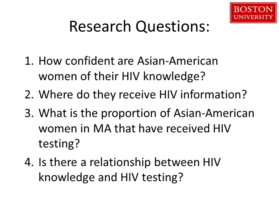 Research Questions: 1.How confident are Asian-American women of their HIV knowledge.