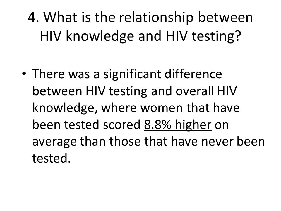 4. What is the relationship between HIV knowledge and HIV testing.