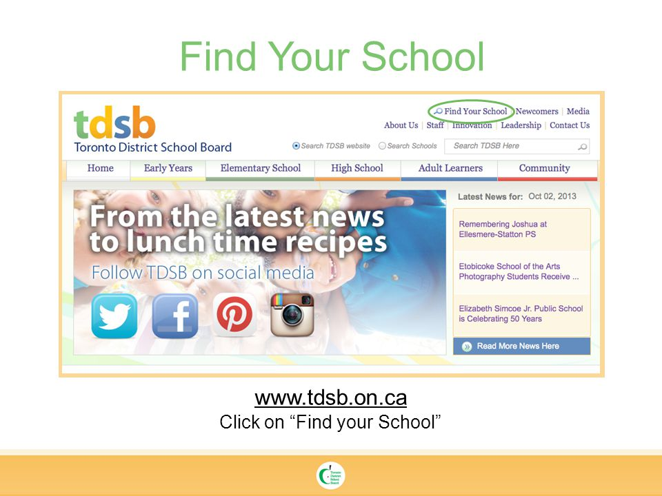 Find Your School   Click on Find your School