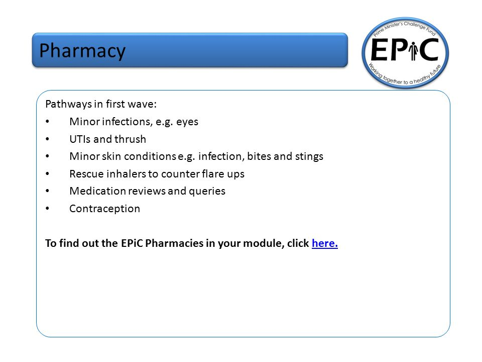 Pharmacy Pathways In First Wave Minor Infections E G