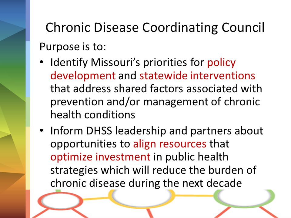 Chronic Disease Coordinating Council Purpose is to: Identify Missouri's priorities for policy development and statewide interventions that address shared factors associated with prevention and/or management of chronic health conditions Inform DHSS leadership and partners about opportunities to align resources that optimize investment in public health strategies which will reduce the burden of chronic disease during the next decade