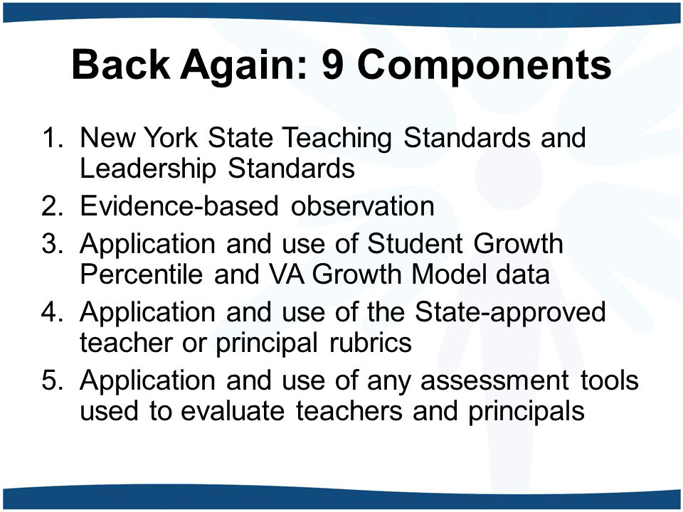 Back Again: 9 Components 1.New York State Teaching Standards and Leadership Standards 2.Evidence-based observation 3.Application and use of Student Growth Percentile and VA Growth Model data 4.Application and use of the State-approved teacher or principal rubrics 5.Application and use of any assessment tools used to evaluate teachers and principals