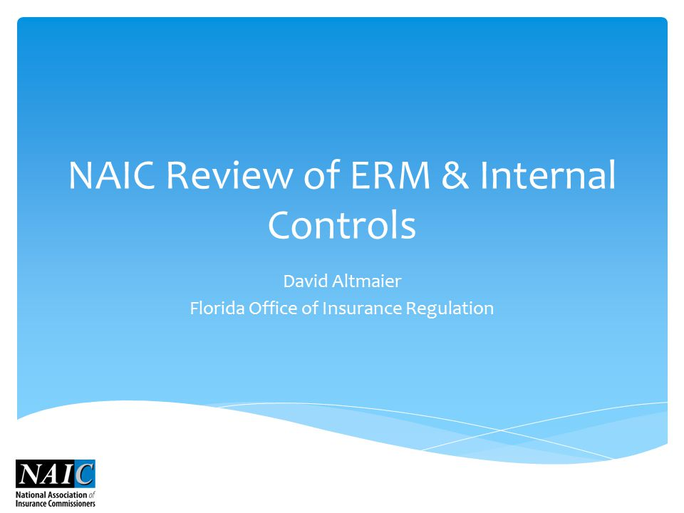 NAIC Review of ERM & Internal Controls David Altmaier Florida Office of Insurance Regulation