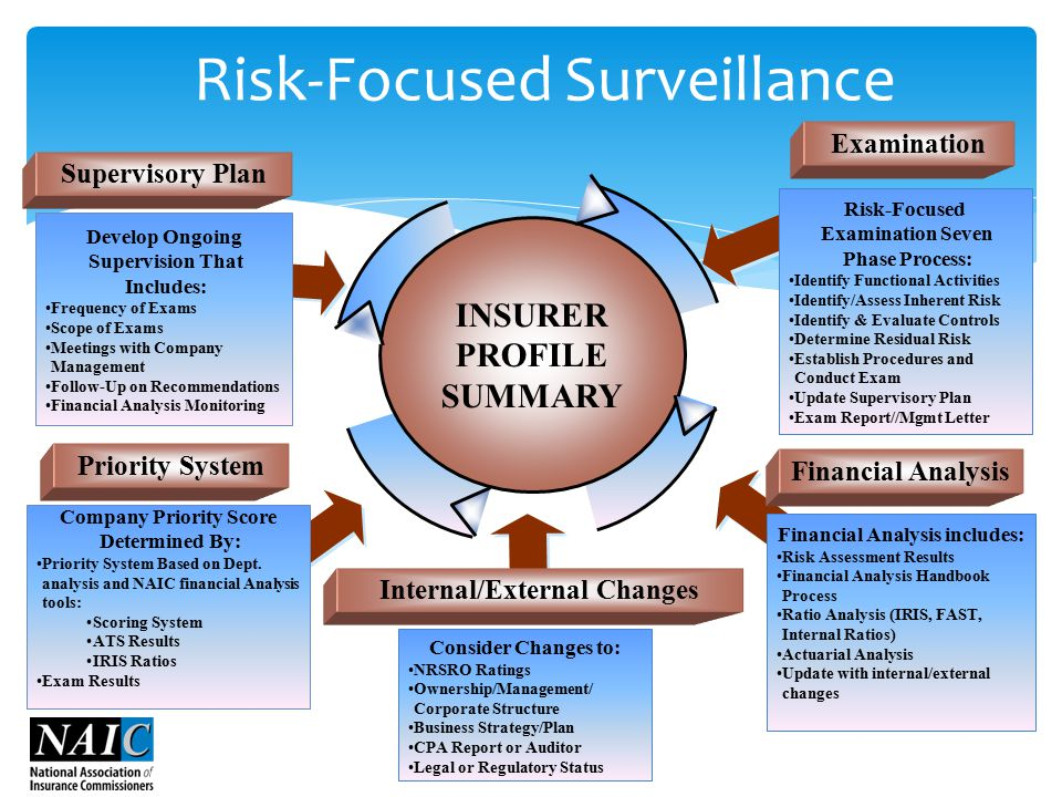 INSURER PROFILE SUMMARY Internal/External Changes Examination Priority System Supervisory Plan Risk-Focused Examination Seven Phase Process: Identify Functional Activities Identify/Assess Inherent Risk Identify & Evaluate Controls Determine Residual Risk Establish Procedures and Conduct Exam Update Supervisory Plan Exam Report//Mgmt Letter Develop Ongoing Supervision That Includes: Frequency of Exams Scope of Exams Meetings with Company Management Follow-Up on Recommendations Financial Analysis Monitoring Company Priority Score Determined By: Priority System Based on Dept.