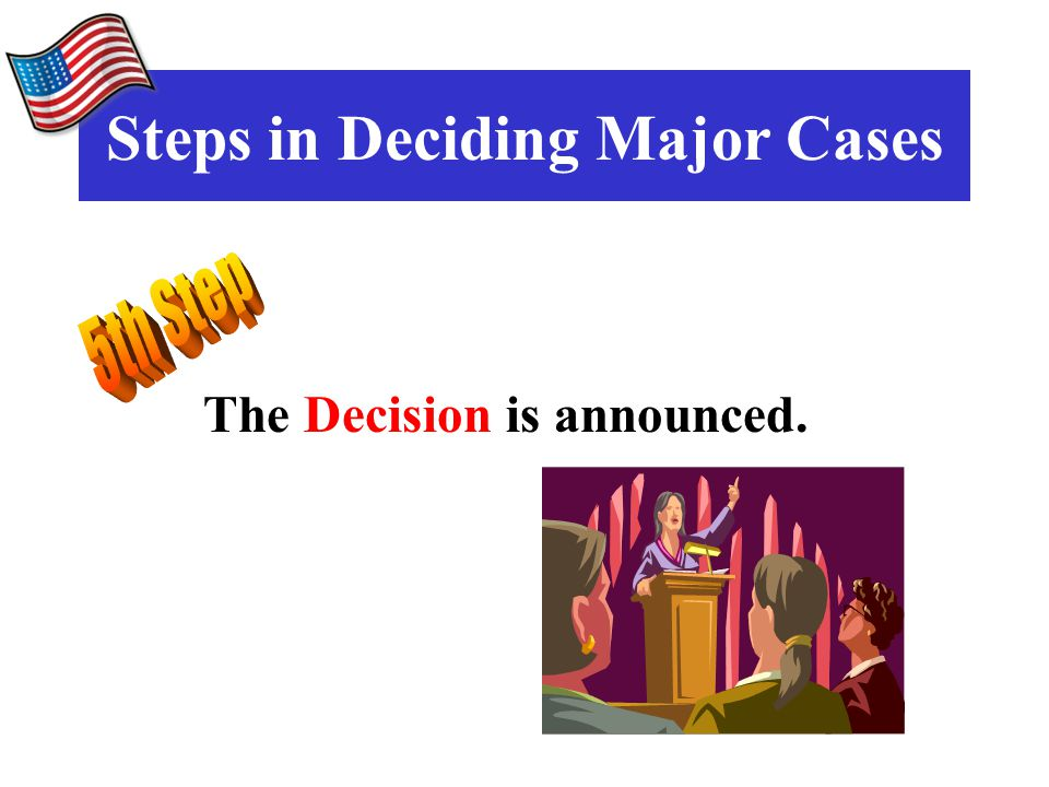 The Decision is announced. Steps in Deciding Major Cases